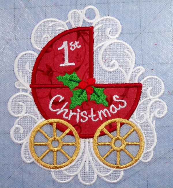 Baby's first Christmas FSL ornament applique ornament