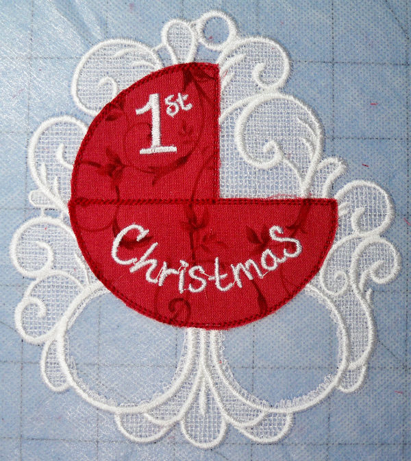 Baby's first Christmas FSL ornament applique trimmed front