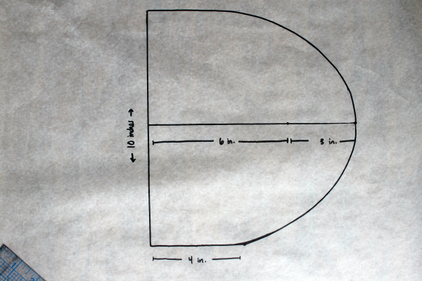 how to draft the curve of a beanie hat pattern