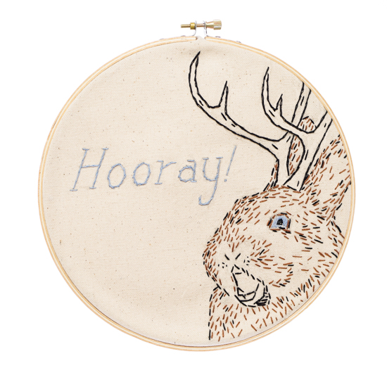 hand emboidred jackalope with the text 'hooray'