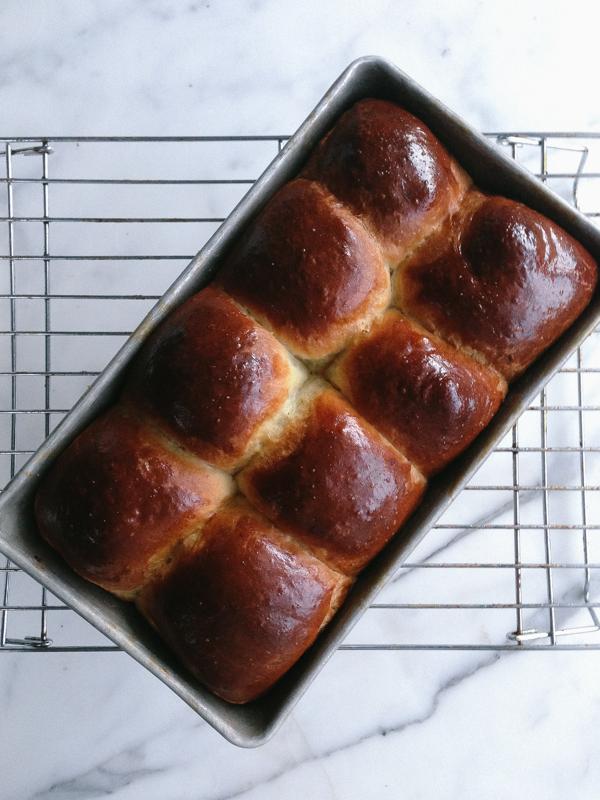 Fresh Loaf of Brioche Bread in a Ban