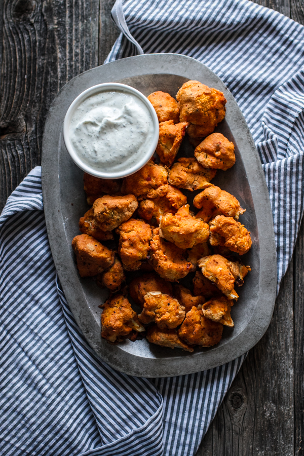 Cauliflower Buffalo Bites  With Greek Yogurt Dipping Sauce