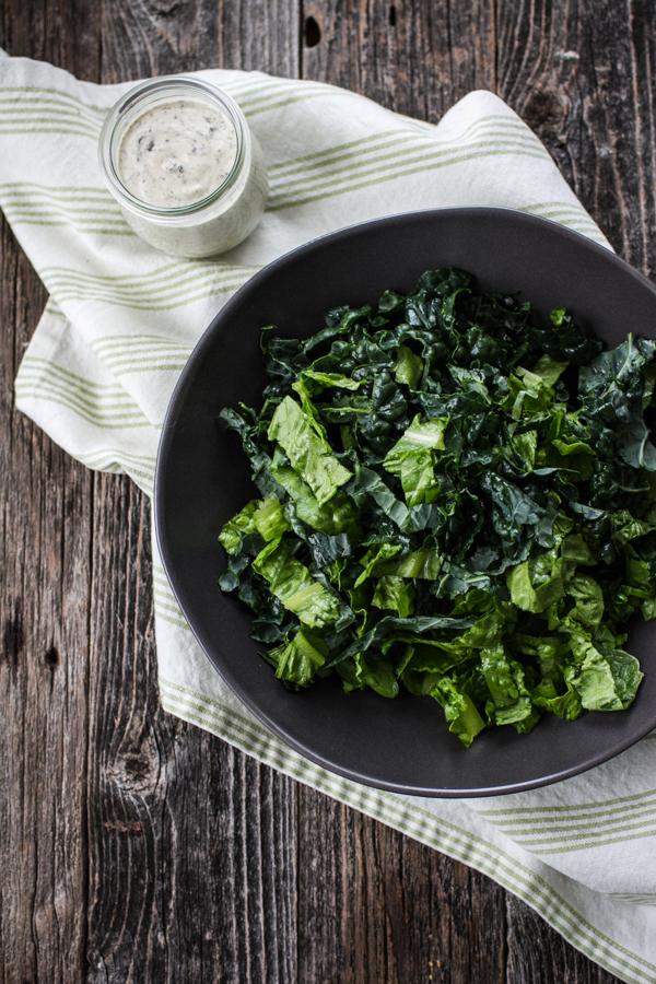 Bowl of Lettuce and Vegan Caesar Dressing
