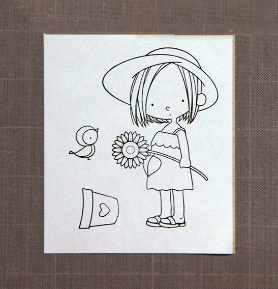 Girl, pot and bird stamped on masking paper