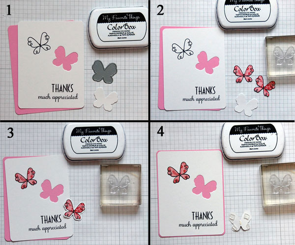 Steps 1 - 4 Creating patterned/raised butterfly