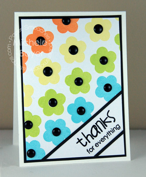 Thanks for Everything card designed in rainbow of colors with flower image