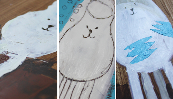 One object painted in three different ways