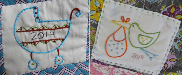 Hand embroidered quilt label for baby.