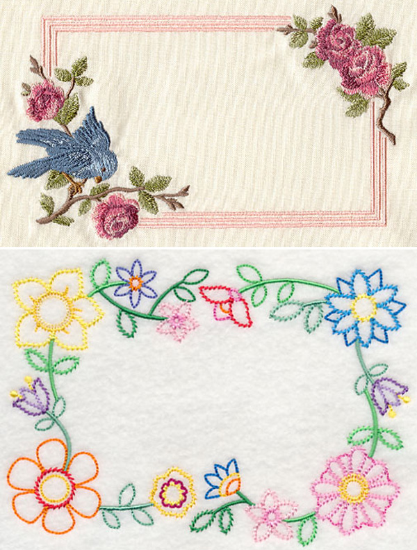 Vintage machine embroidered quilt labels.