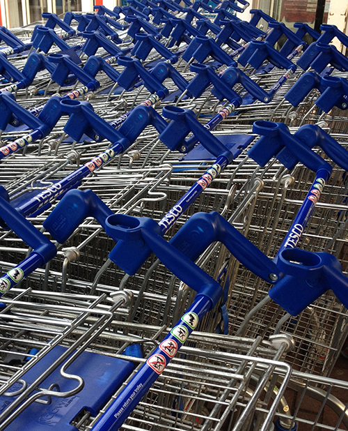 shopping carts making a pattern