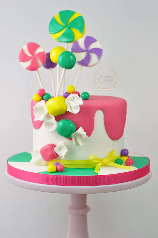Bright and colorful candy cake tutorial by Juniper Cakery