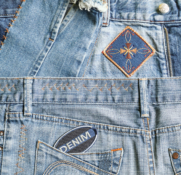 faded denim embroidery