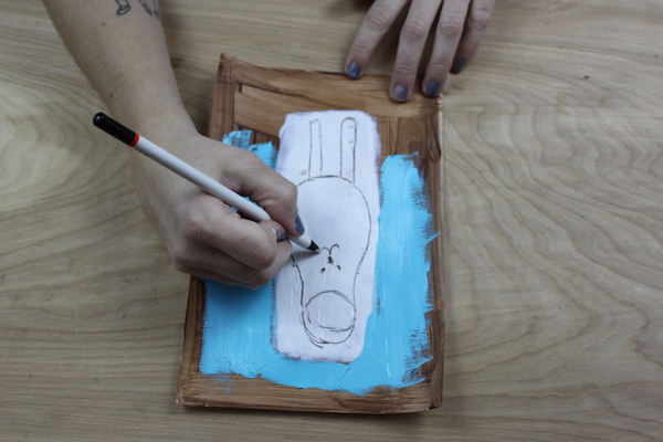 drawing into wet paint action