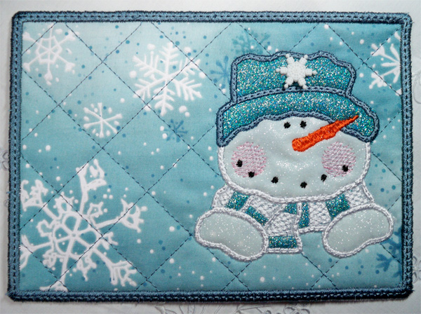glitter flex vinyl applique snowman mug rug