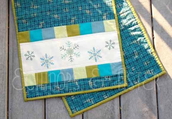 Embroidered Snowflake Table Runner