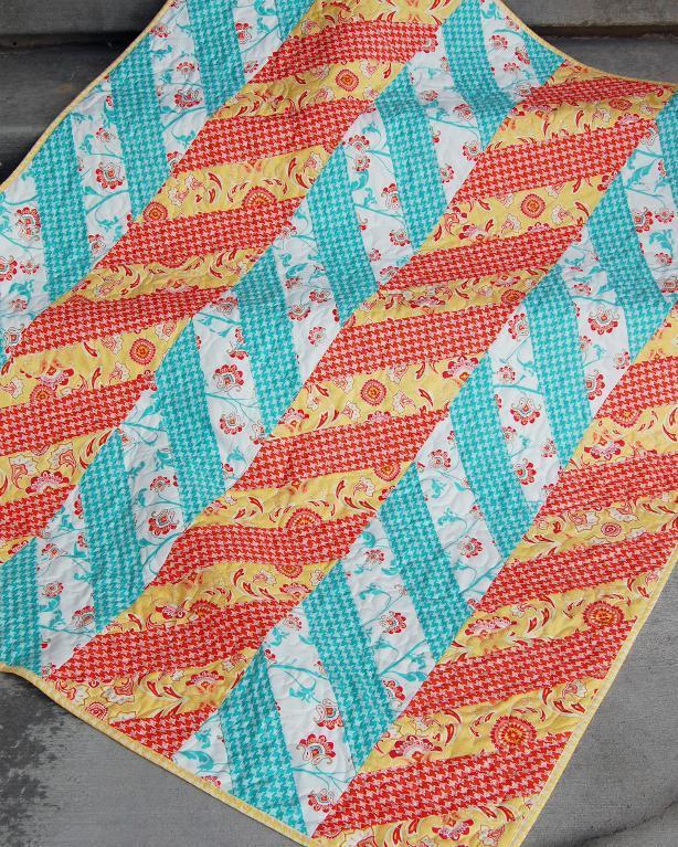 Modern Herringbone Quilt & Flower Pillow