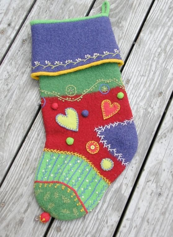Felted Crazy Quilt Stocking