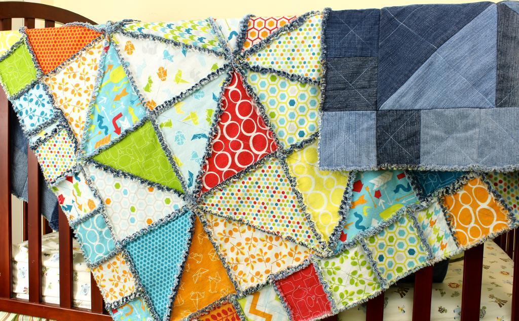Half Square Triangle Rag Quilt