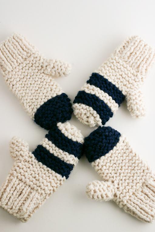 Chunky Garter Stitch Mittens knitting pattern