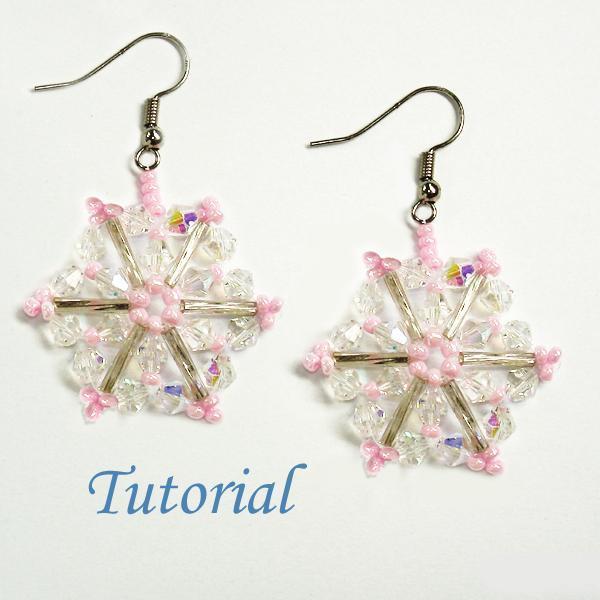 Beaded Pink Snowflake Earrings Tutorial