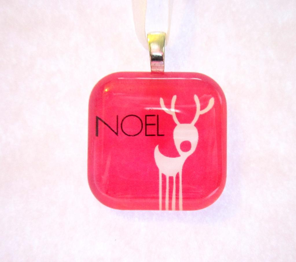 Hot Pink Noel Christmas Ornament or Pendant