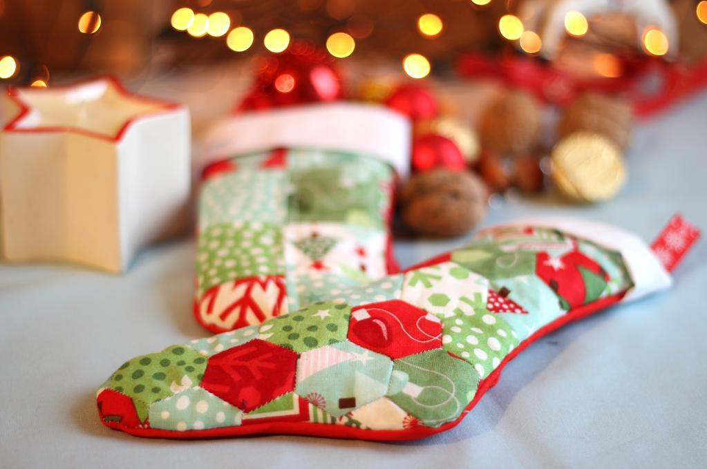 Hand stitched hexagon Christmas stockings