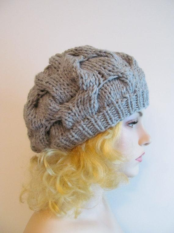 Chunky Cable Beret Hat knitting pattern
