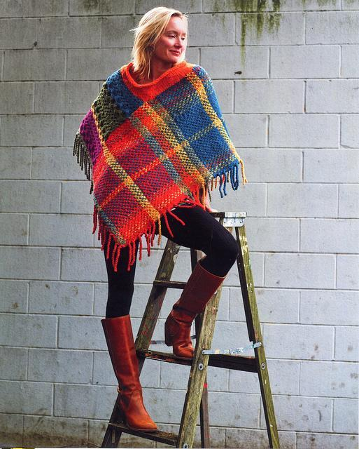 Imperial Cabled Plaid Poncho knitting pattern
