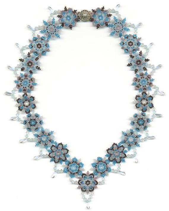 Snowflake and Icicle Beadwoven Necklace