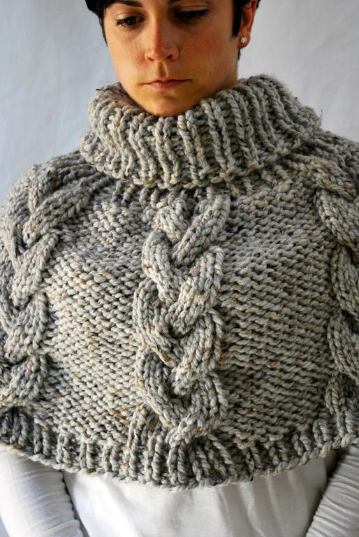 Chunky Knit Cable Poncho knitting pattern