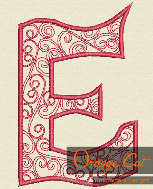 Letter E Monogram Embroidery Design