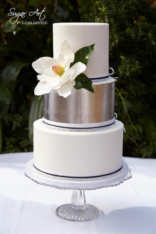 Magnolia cake with silver leaf by Bluprint member SugarArtbySusan