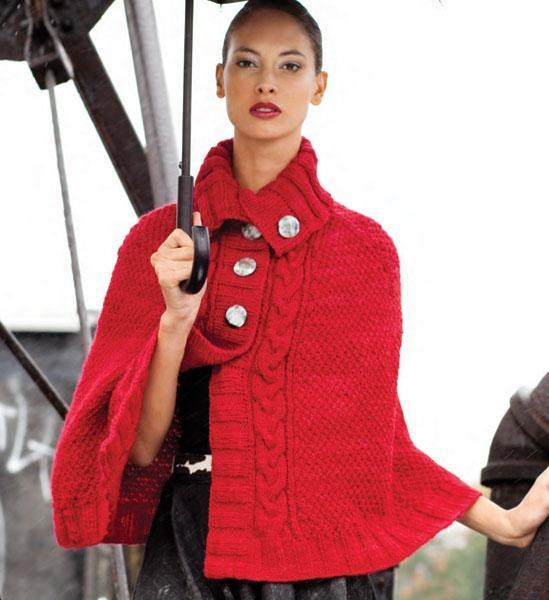 Buttoned Cape knitting pattern