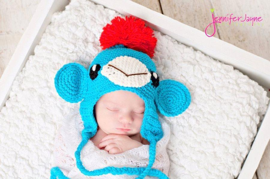 Blue Monkey Hat with Earflap crochet pattern