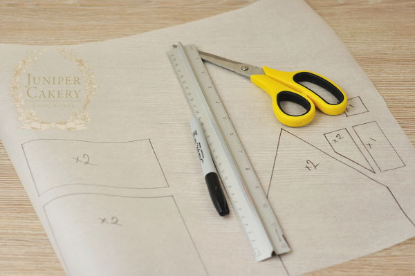 Planning out a gingerbread house template by Juniper Cakery