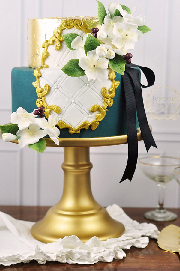 Golden frame cake with sugar damson blossoms by Juniper Cakery