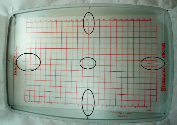 Embroidery hoop template overlay.