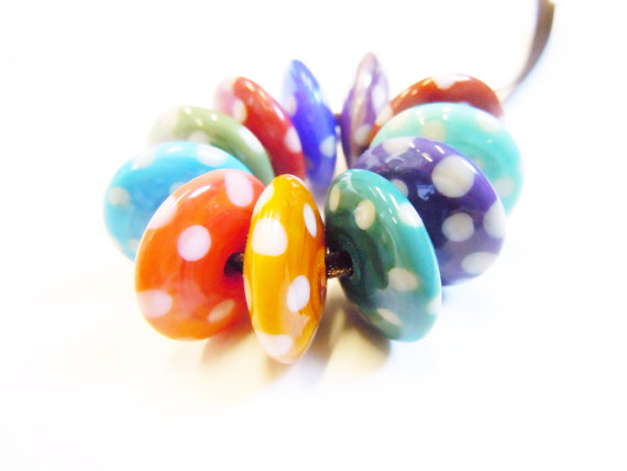 Handmade lampwork glass beads from Helen Jewellery