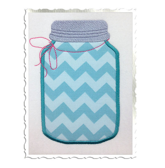 Mason Jar Embroidery Digital Pattern