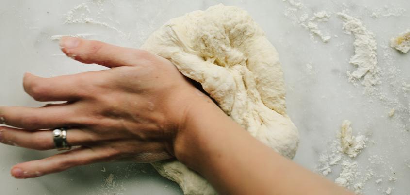 Kneading homemade bread dough