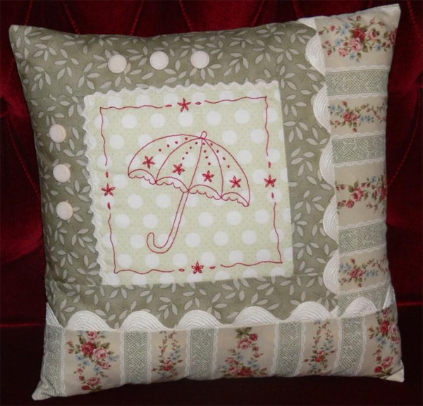 Hand embroidered pillow by Val Laird on Bluprint.com.
