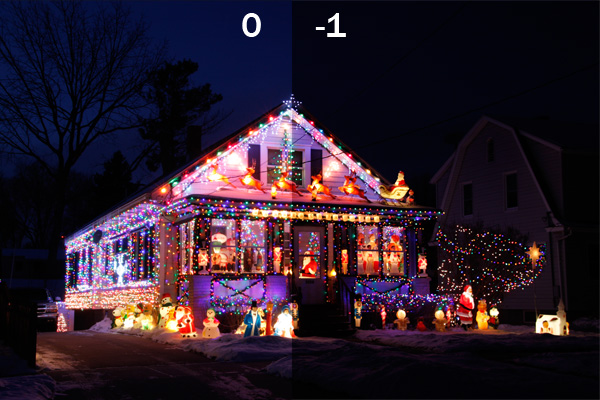 Comparison of holiday lights photographed with 0 and -1 exposure compensation