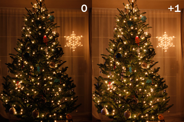 Comparison of Christmas trees photographed with 0 and +1 exposure compensation