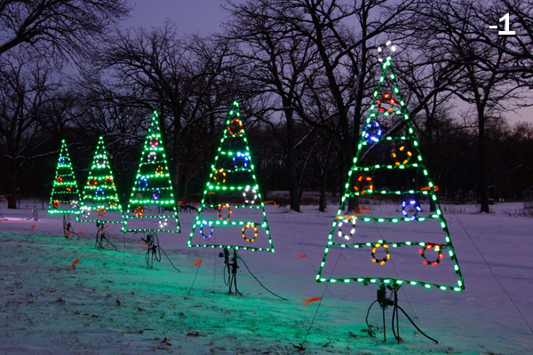 Outdoor holiday lights photographed at -1 exposure compensation