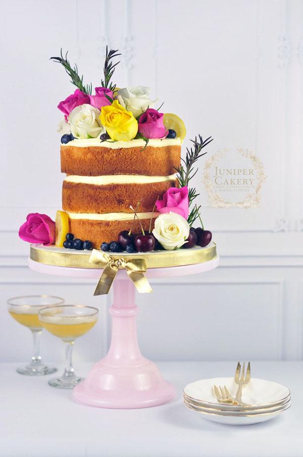 Buttercream filled naked cake by Juniper Cakery