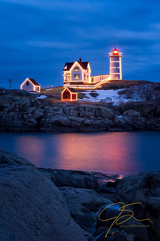 Christmas Time At Nubble Light.