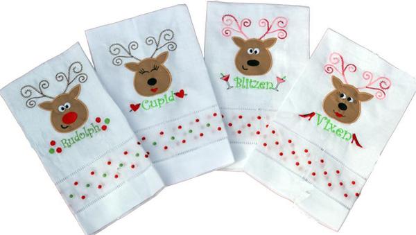 Rockin Reindeer Applique set on hand towels.