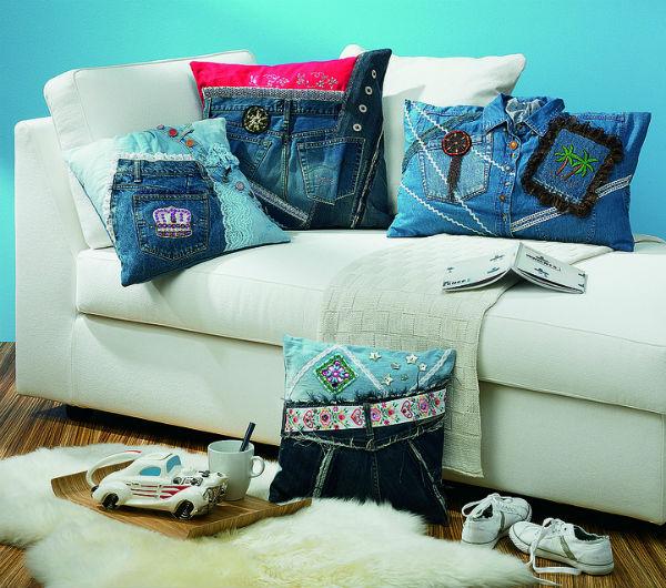 Repurposed denim pillows.