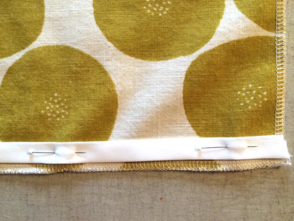 sew piping to side seams