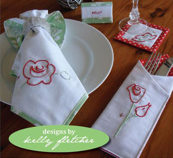 Christmas edition table linen hand embroidery pattern.
